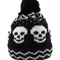 Black and White Knit Skull Winter Hat with Pom Pom