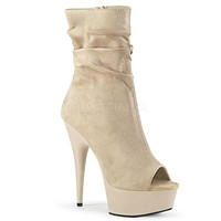 "Delight 1031 Beige Slouchy Ankle Boot 6"" High Heel Shoe Sizes 5-12"