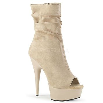 """Delight 1031 Beige Slouchy Ankle Boot 6"""" High Heel Shoe Sizes 5-12"""