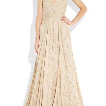 Ralph Lauren Collection | Meyer embroidered floral-print cotton halterneck gown | NET-A-PORTER.COM