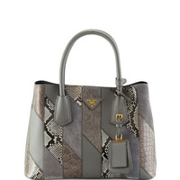 Small Python/Leather/Crocodile Tote Bag, Gray (Marmo)