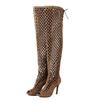 Women's High Heel Fish Mouth Hollow Cool Boots Stiletto Heel