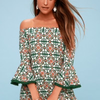 Wanderlust for Life Green Print Off-the-Shoulder Mini Dress