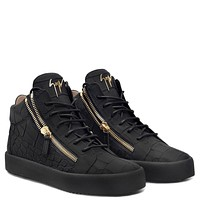 Giuseppe Zanotti Gz Kriss Black Crocodile-embossed Mid-top Sneaker-1