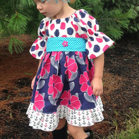 Girls Fall Dress Little Girls Peasant Dress Baby Dress 2T 3T 4T 5 6