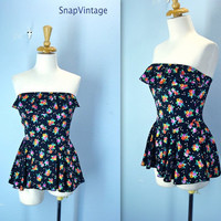 Vintage 1970s Bathing Suit / Strapless Floral Swimsuit / Ruffle Skirt Swimming Suit