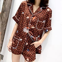LV tide brand female models wild casual loose comfortable lapel sexy home service five-piece
