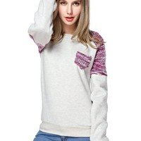 TopStyliShop Woman's Round Neck Sweatshirt with Pocket Front SS1025