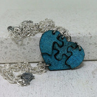 Blue Leather Heart Puzzle Pieces set of 4 Friendship bracelets Set 405