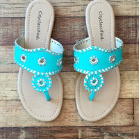 You Don't Know Jack Sandals in Aqua