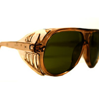 Gold Aviator Sunglasses, Vintage Aviators, Taupe and Olive Pilot Safety Glasses, Green Lens Flight Shades