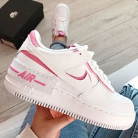 Nike Air Force 1 MID Pink and White Couple Platform Sneakers Shoes