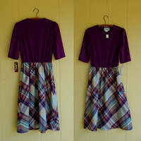 vintage wool dress . purple geometric plaid . cute button shoulders . new deadstock with tags