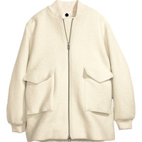 H&M - Wool-blend Pilot Jacket - White - Ladies