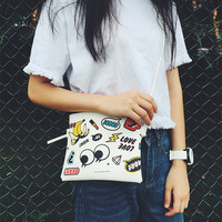 Women Girl PU Cartoon Pattern Shoulder Bag Top Zip  Cross Body Bag Tote Purse
