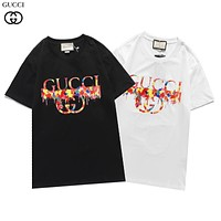 Gucci autumn and winter new short-sleeved color oil painting logo printing fashion men's and women's T-shirt