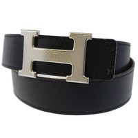 Auth HERMES Reversible Constance H Buckle Belt Leather Silver France #80 86BD899
