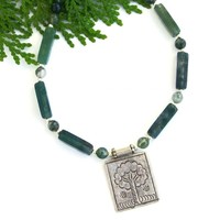 Tree of Life Fine Silver Pendant Necklace, Green Moss Agate Thai Hill Tribes Handmade Jewelry