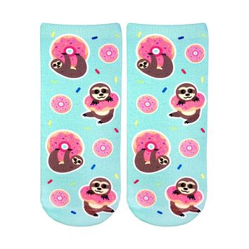 Sloth Donut Ankle Socks