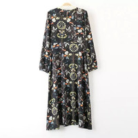 Vintage Print Long Sleeve One Piece Dress [5013174724]