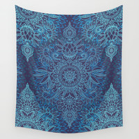 Aqua, Cobalt Blue & Purple Protea Doodle Pattern Wall Tapestry by Micklyn