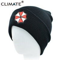 CLIMATE Men Women Winter Warm Beanie Hat Resident Evil Umbrella Corporation Soft Cool Knitted Beanie Hat Cap For Adult Men Women