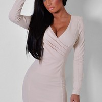 Modesty Nude Front Wrap Mini Dress   Pink Boutique