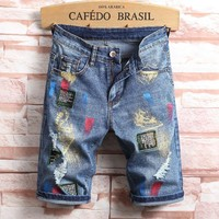 Shorts Denim Pants Men Summer Ripped Holes Capri [3444985266269]