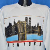 90s New York City Skyline Twin Towers Sweatshirt Large