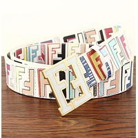 FENDI Fashion Woman Men Casual F Letter Smooth Buckle Belt Leather Belt White/Colorful I12815-1