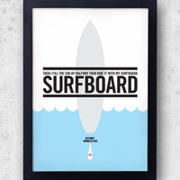 """Beyonce Surfboard Poster, """"Drunk In Love""""  Jay-Z, Kanye West, lyric inspired print"""