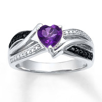 Amethyst Heart Ring Diamond Accents Sterling Silver