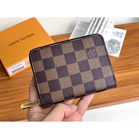 Louis Vuitton Classic Clutch Coin Purse Letter Check Print Fashion Men's and Women's Wallets