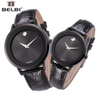 New BELBI Brand Quartz Watch lovers Watches Women Men Dress Watches Leather Waterproof Wristwatches Fashion Casual Watches