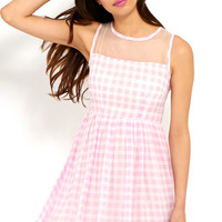 Alishia Gingham and Mesh Skater Dress in Pink