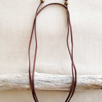 Dark Suede and Antique Brass Square Tube Tie Necklace