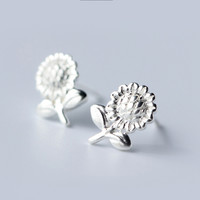 Cute sunflower  925 sterling silver earrings, a perfect gift