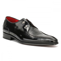 Jeffery West Mens College Centre Panel Black Leather / Black Lizard Loafer