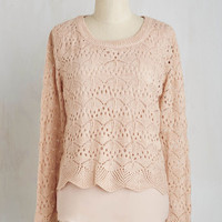 Mid-length Long Sleeve Cafe Con Lovely Sweater in Petal