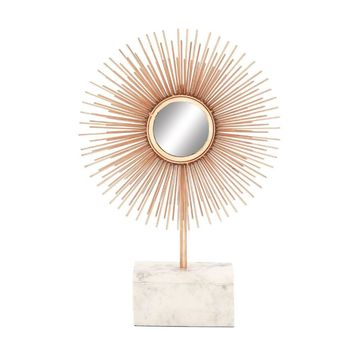 Benzara Alluring Metal Marble Mirror Copper Sculpture