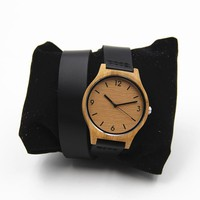 Long Leather Bracelet Bamboo Wooden Watch