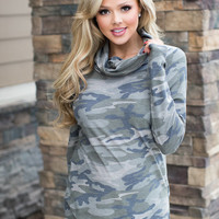 In The Wilderness Cowl Neck Long Sleeve Camo Top