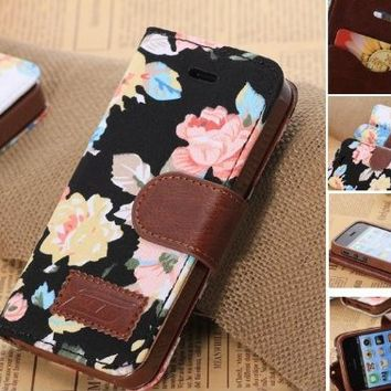 OOOUSE Elegant Flower and Deluxe Book Style Folio PU Leather Wallet with Magnet Design Flip Case Cover, Credit Card Holder for iPhone 5 / 5S / 5C and iPhone 4S (iPhone5C-Black)