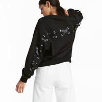 Sweatshirt with Satin Ribbons - from H&M