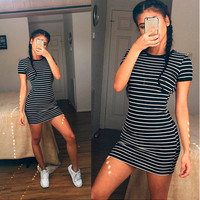 summer women stripe dress girls student dresses