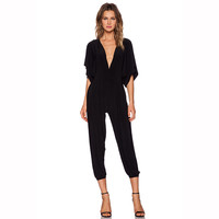 Black Batwing V-neck Jumpsuit