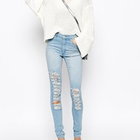 Cheap Monday Second Skin Skinny Jeans With Distressing