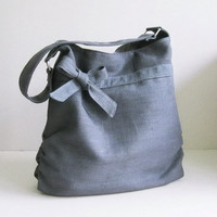 Sale - Grey Hemp/Cotton  Bag, tote, purse, bow, hemp, unique - Dessert