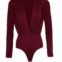 Deep V Neck Long Sleeve Bodysuit