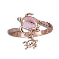 PINK ROSE GOLD INLAY PINK OPAL HAWAIIAN HONU TURTLE DANGLE BABY RING SIZE 4 - 9